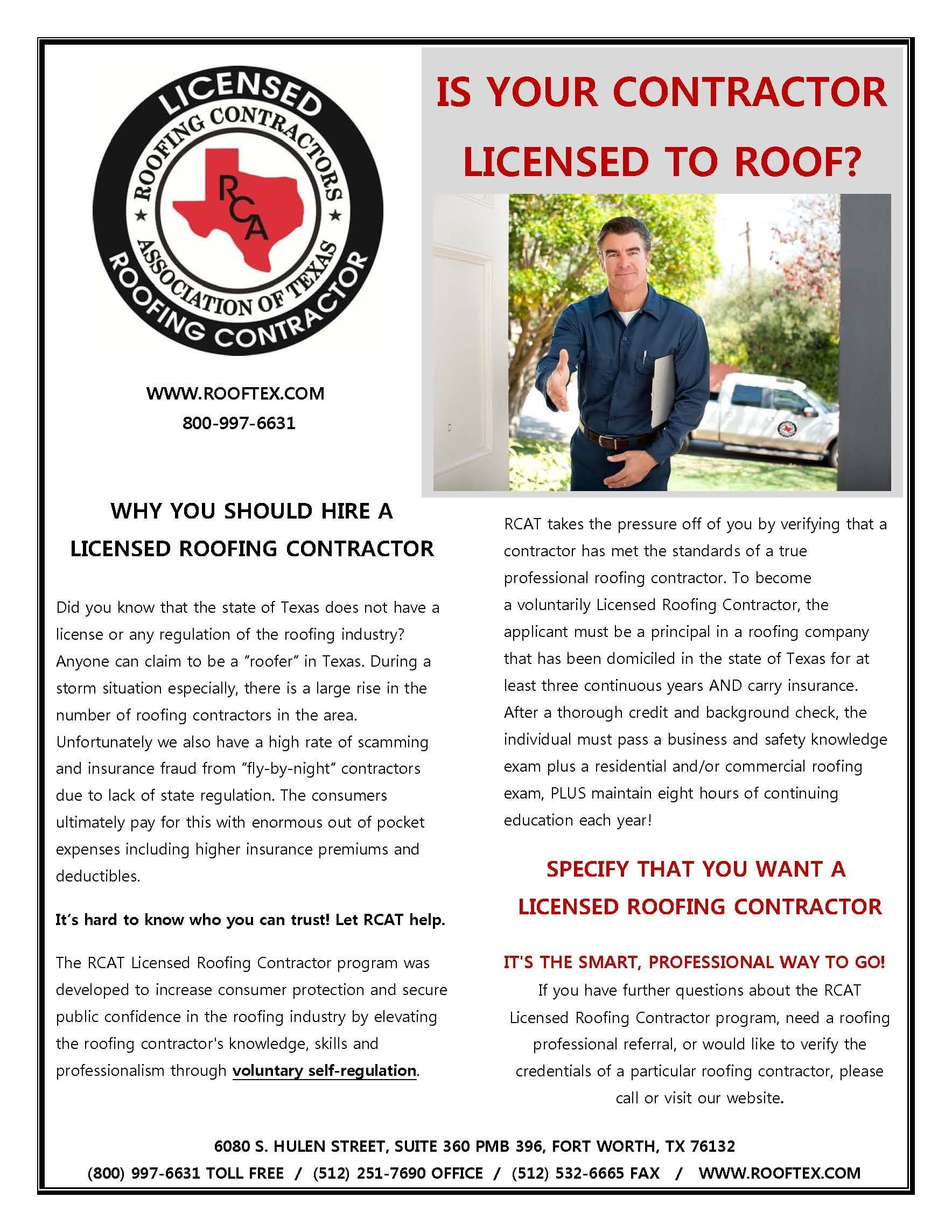 RCAT - Why You Should Hire A Licensed Roofing Contractor